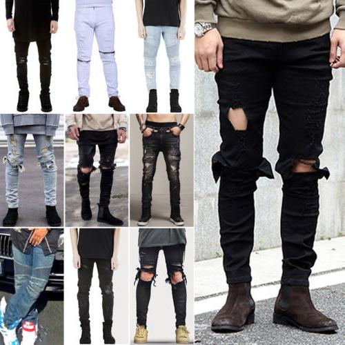 Men's Ripped Skinny Biker Jeans Destroyed Frayed Distressed