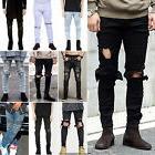 men s ripped skinny biker jeans destroyed