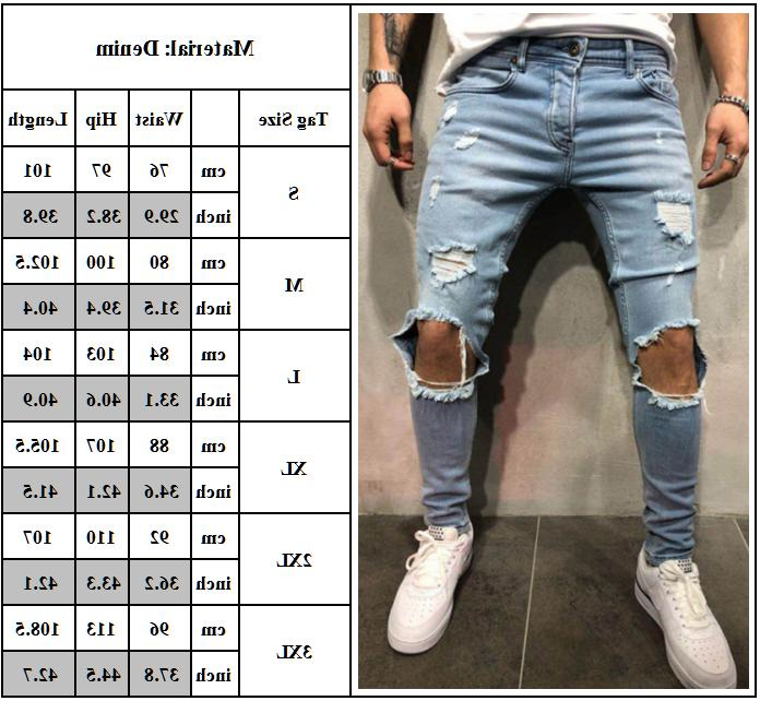 Men Stretch Jeans Distressed Denim