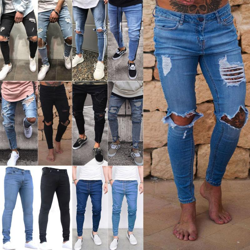 men s ripped skinny jeans stretch destroyed