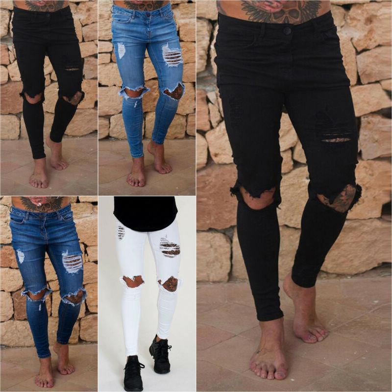 Men's Jeans Stretch Biker Distressed Pants