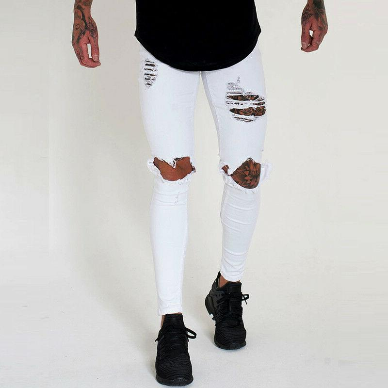 Men's Skinny Stretch Slim Biker Trousers