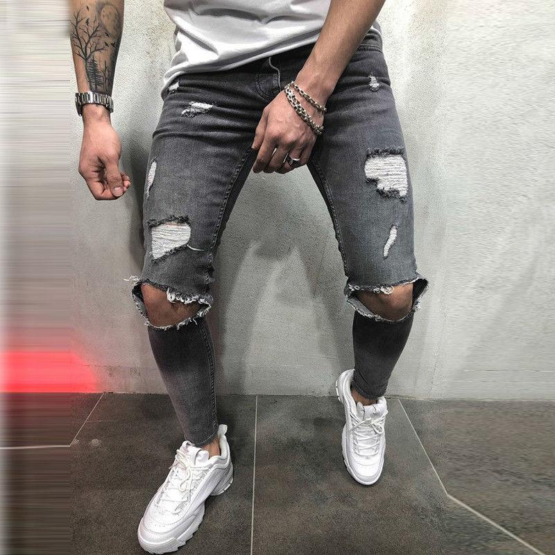 Men Skinny Distressed Ripped Freyed Denim Pants Trousers