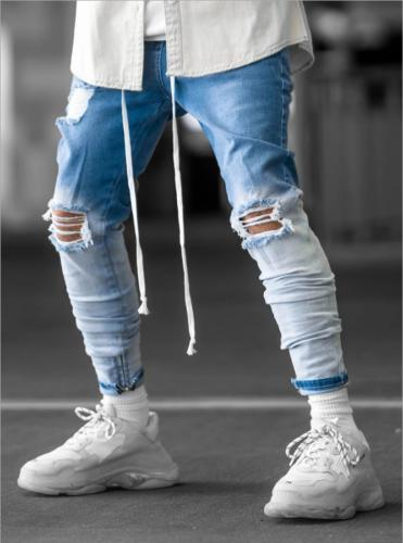 Men Skinny Fit Jeans Ripped Stretch Casual Biker Trousers