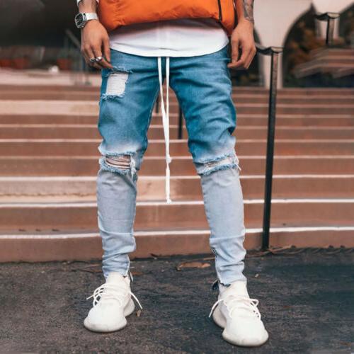 Men Jeans Fit Jeans Pants Stretch Trousers