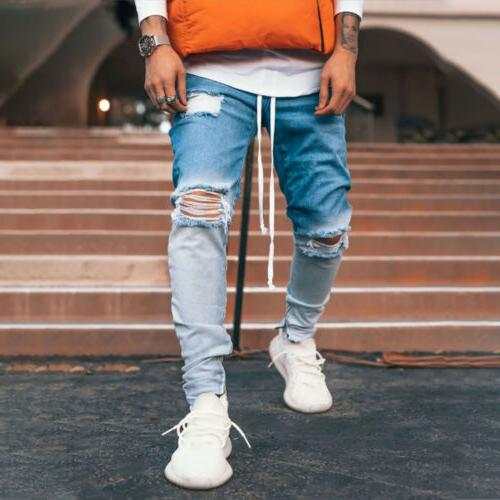 Men Skinny Fit Jeans Pants Stretch