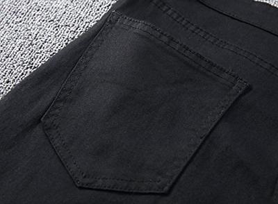 Leward Men's Slim Black Ripped Skinny Denim