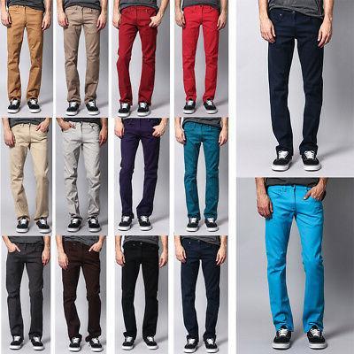 men s slim fit colored denim jeans