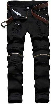 Men's Slim Fit Pencil Pants Vintage Zipper Denim Distressed