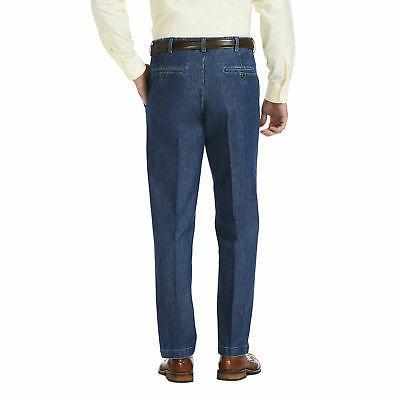 Haggar Denim Flat Front Trouser Classic Fit