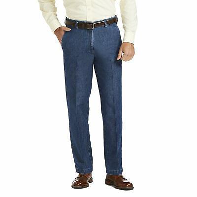 men s stretch denim flat front trouser