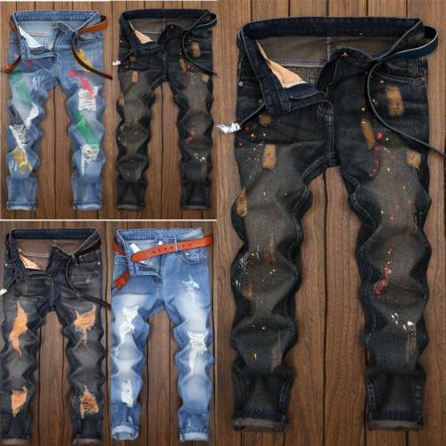 US Ripped Biker Designed Fit Pants