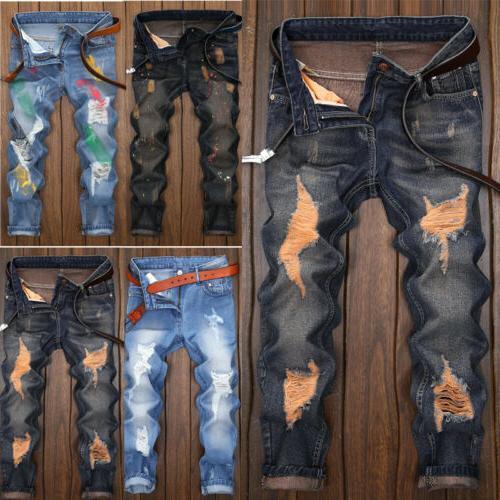 US STOCK Biker Jeans Destroyed Designed Denim