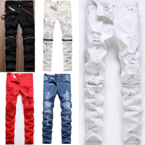 Men's Stretchy Biker Jeans Destroyed Slim