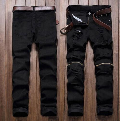 Men's Stretchy Biker Jeans Destroyed