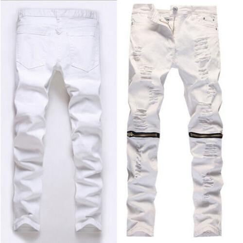 Men's Stretchy Biker Jeans Slim Fit Denim