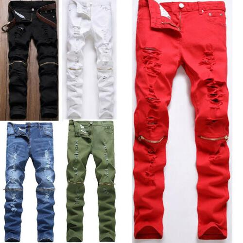 Men's Biker Destroyed Slim Fit Denim