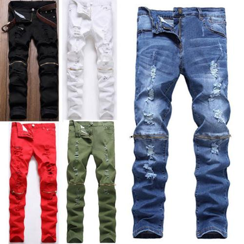 Men's Stretchy Ripped Skinny Biker Jeans Destroyed Slim