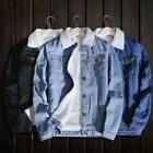 Men's Unisex Fleece Fur Lining Sherpa Denim Jacket Winter Th