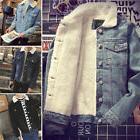 Men's Western Vintage Fleece Jacket Fur Lining Coat Jean Den