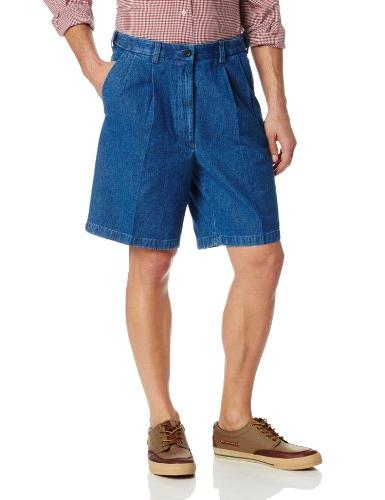 Haggar Men's Work To Weekend Expandable Waist Pleat Front Sh