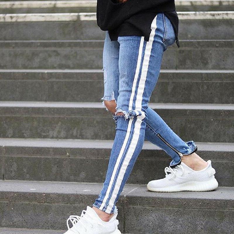Men's Track Pants Slim Fit Denim Pants Skinny Jeans