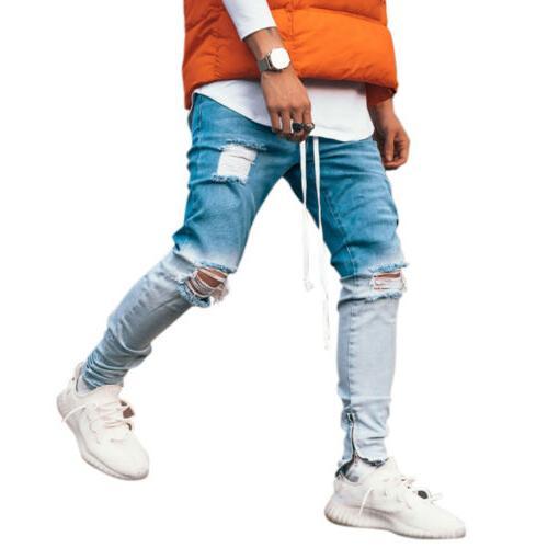 Men Jeans Fit Pants Stretch Trousers
