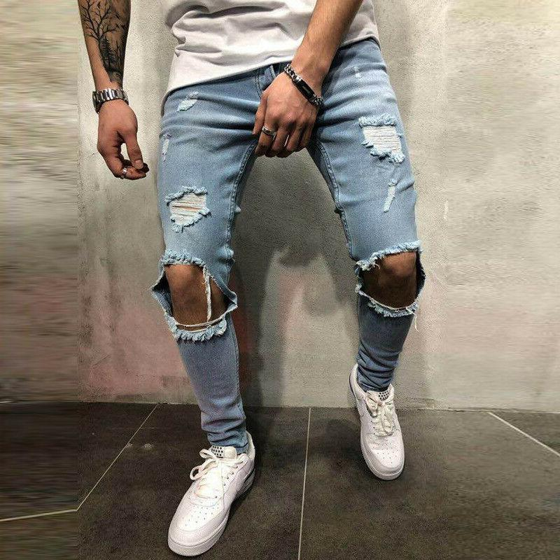 Men Skinny Stretch Distressed Ripped Denim Pants Trousers
