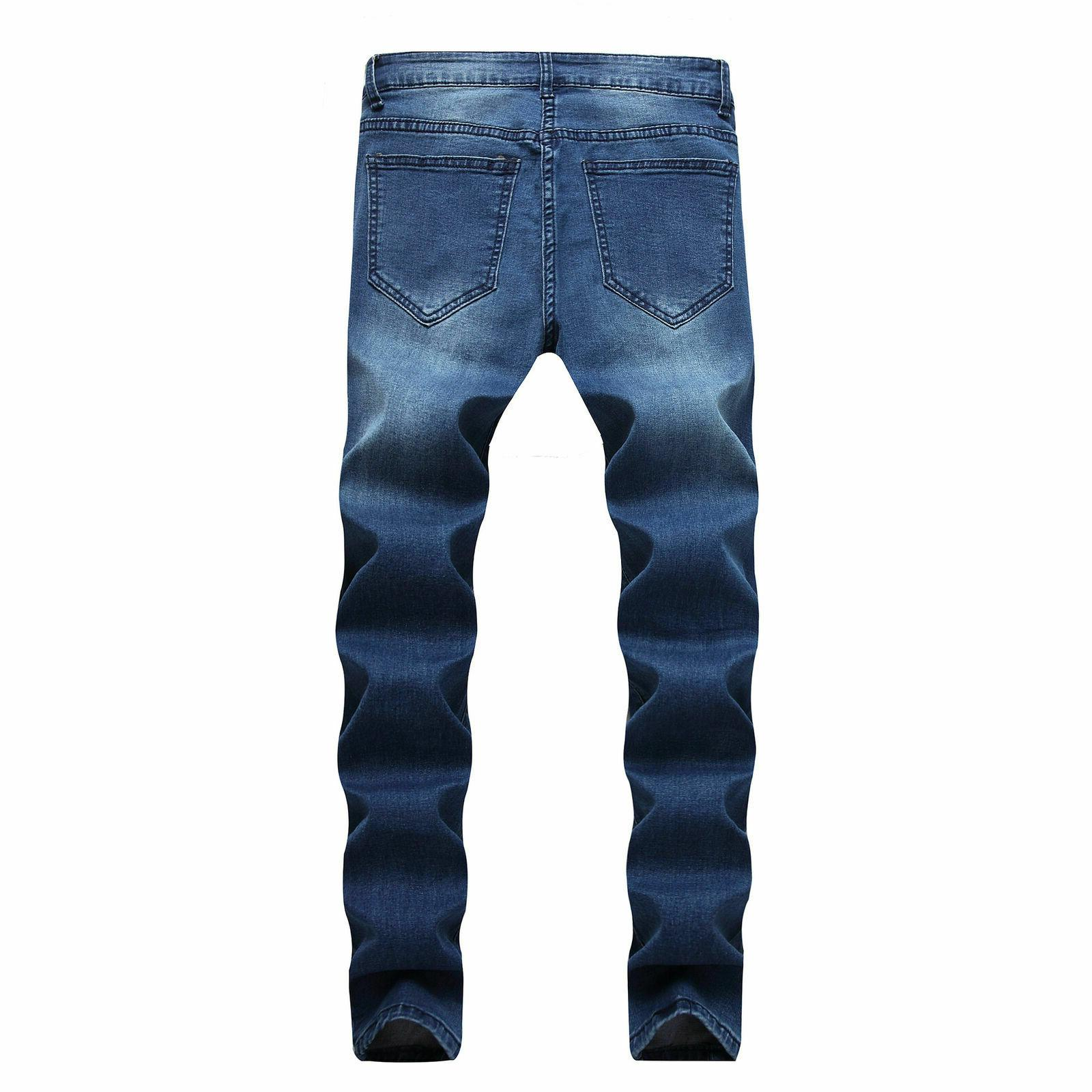 Men Stretch Ripped Skinny Style Jeans Tapered Fit Pants