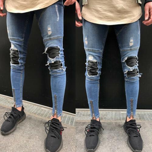 Men Skinny Biker Slim Fit Pants Zip