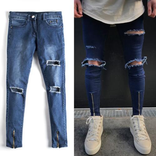 Men Holes Skinny Destroyed Slim Fit Zip