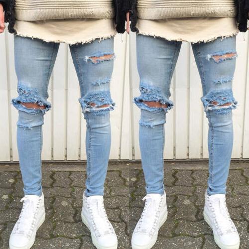 Men Stretch Holes Skinny Slim Fit Zip