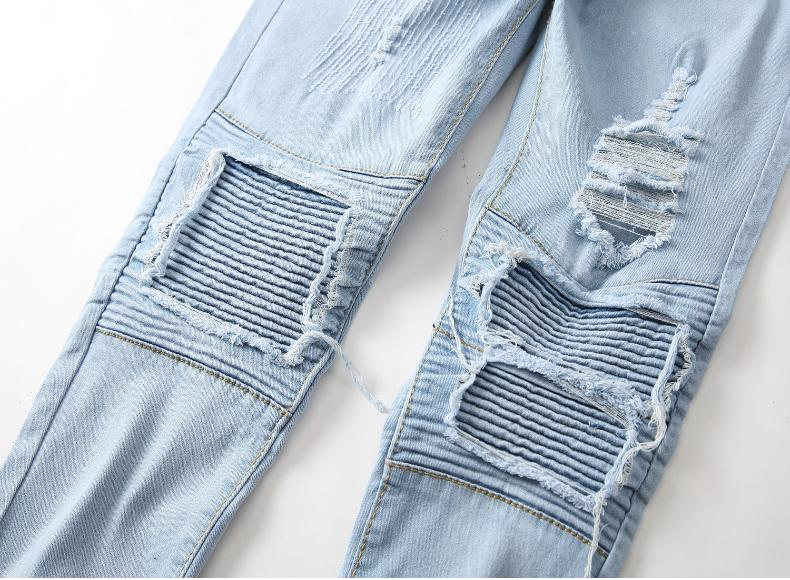 Men Stretch Ripped Jeans Fit Denim Pants US
