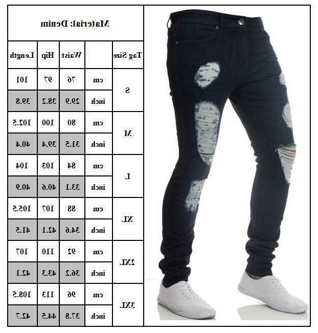 Men Skinny Jeans Frayed Slim Fit Biker 3XL