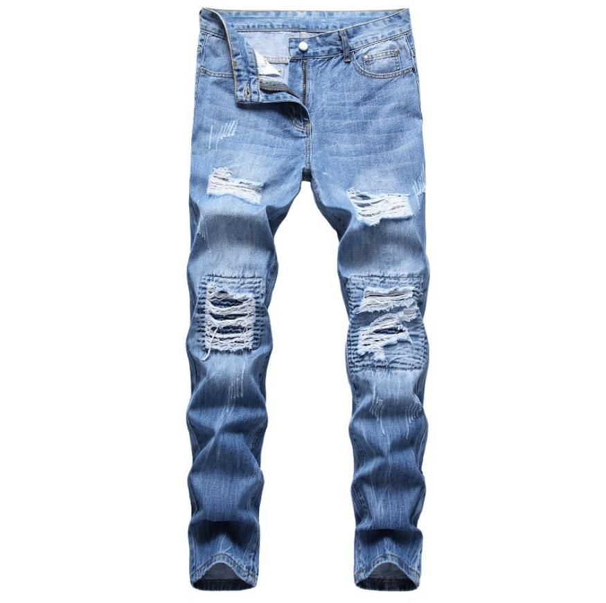 US Men Ripped Biker Skinny Jeans Trousers Pants