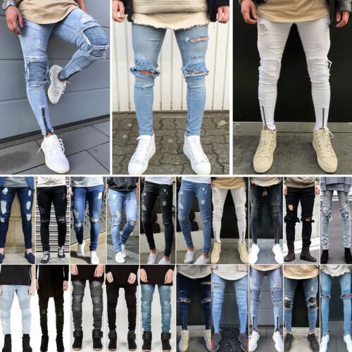 Men Ripped Jeans Stretch Skinny Denim Pants Destroyed Frayed