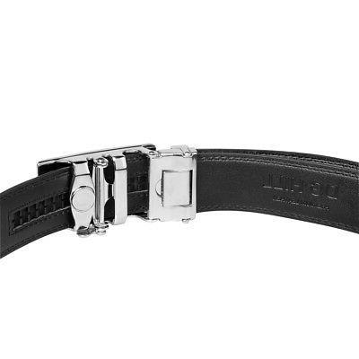 Men's Designer Leather Dress Belt With Sliding Ratchet Automatic Buckle Holeless