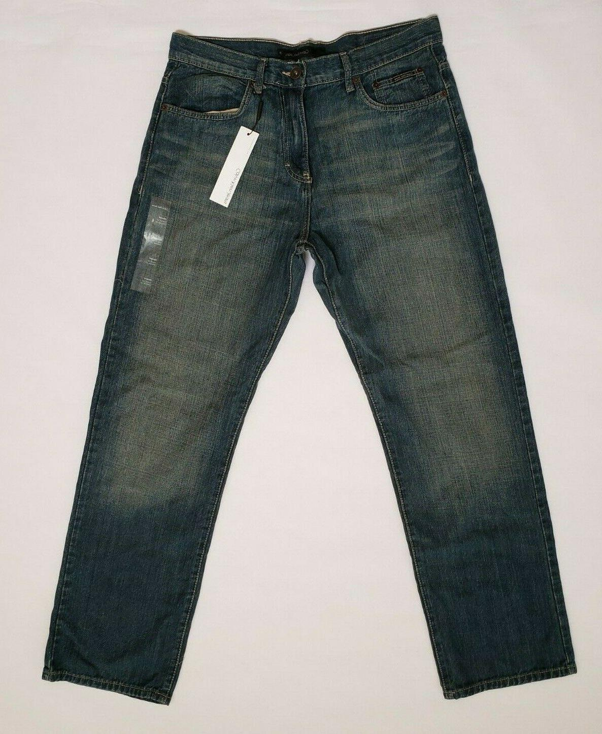 Calvin Mens Jeans 34x32 Straight Five Pocket Blue