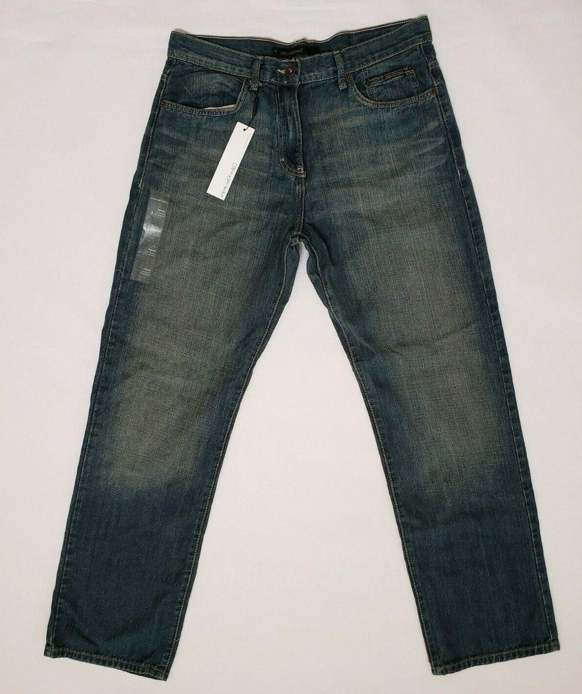 Calvin Klein Mens 34x32 Straight Five Pocket Blue