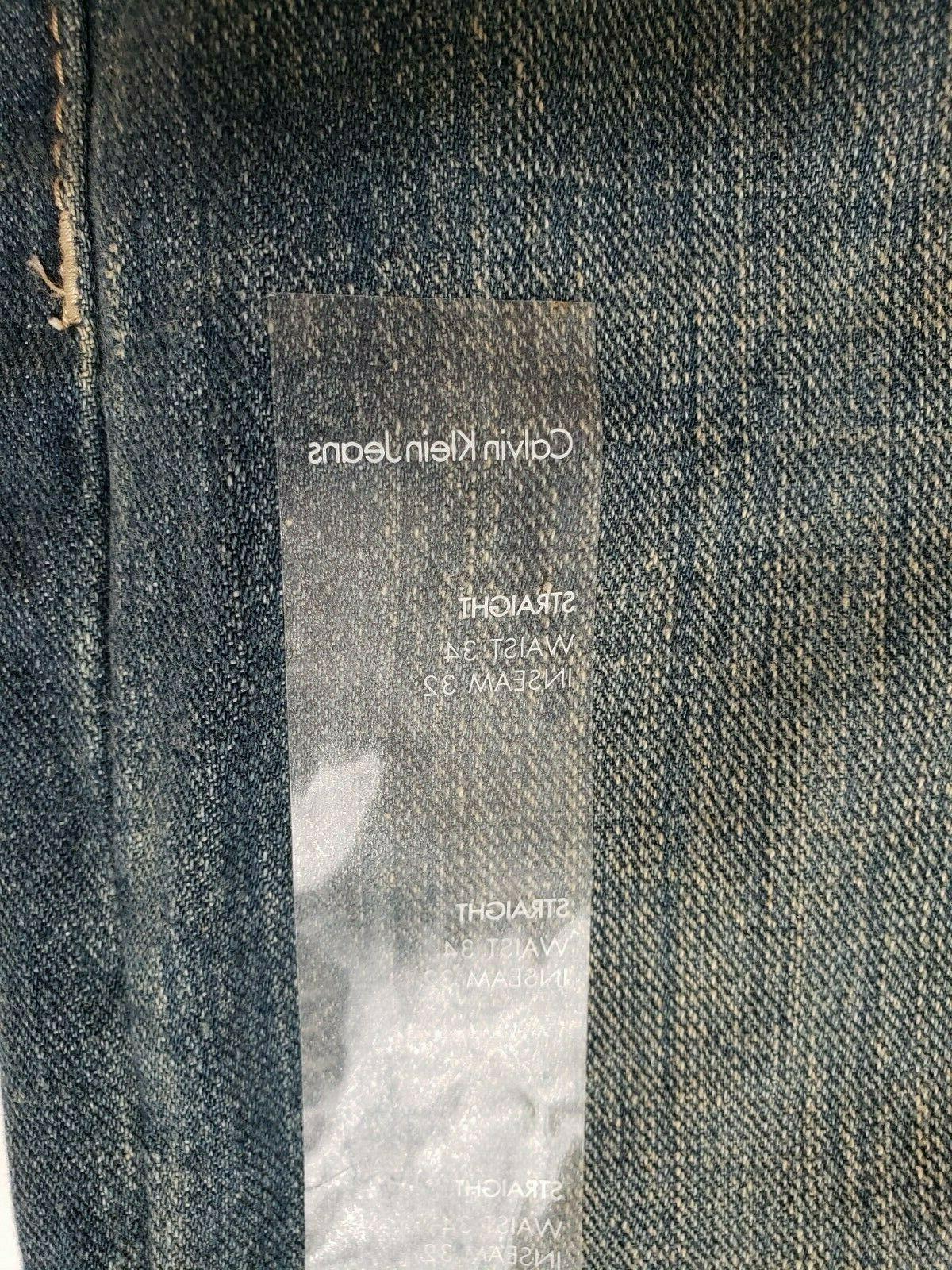 Calvin Mens 34x32 Straight Relaxed Pocket Blue NEW