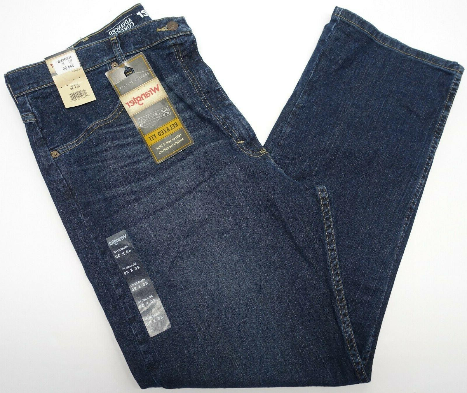 Mens Wrangler Jeans 40x30 Relaxed Fit 4-Way Flex Comfort Str