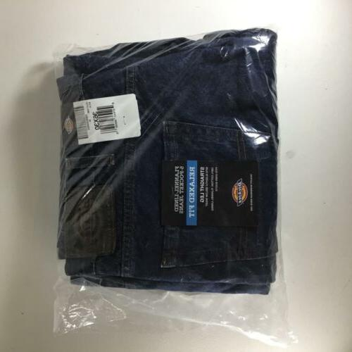 mens relaxed straight flannel lined denim blue