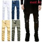 Mens Ripped Distressed Jeans Solid Straight Leg Stretchy Ski