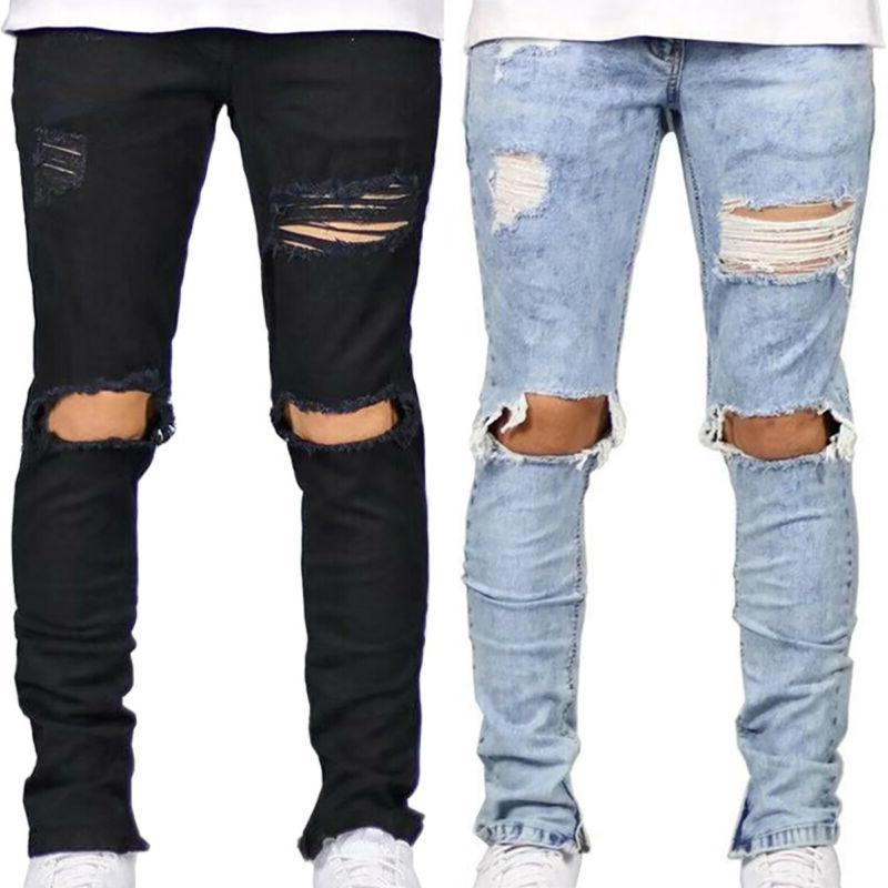 Men Ripped Distressed Jeans Skinny Frayed Bottoms Slim Fit B