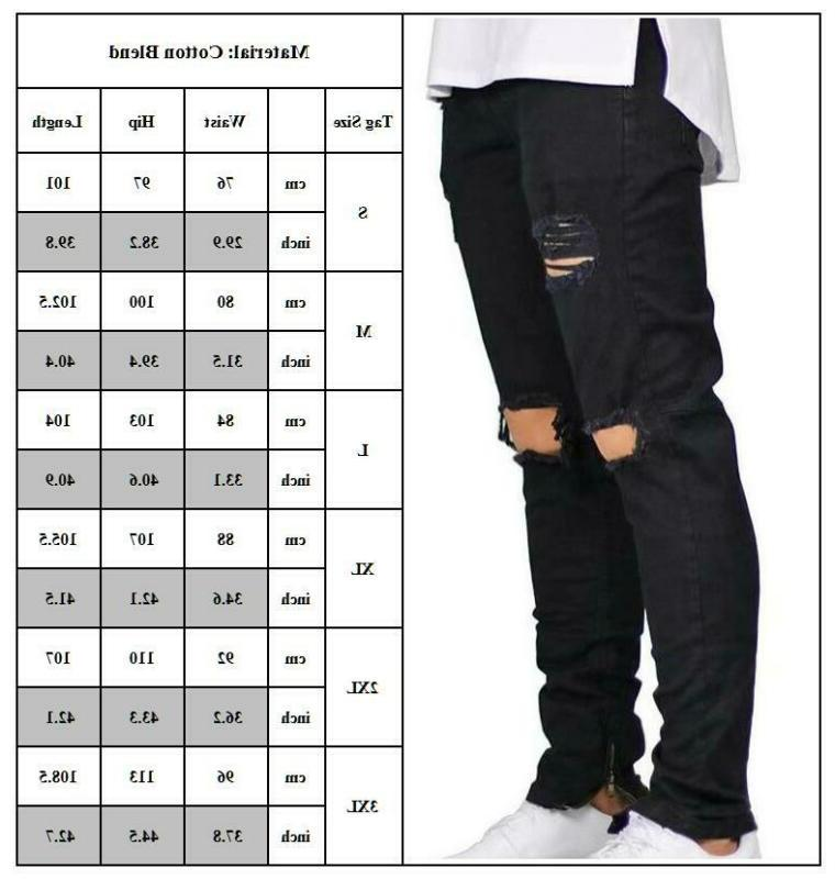 Men Ripped Jeans Skinny Slim Fit