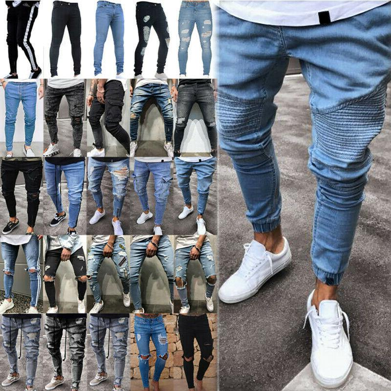 Men's Ripped Biker Skinny Jeans Frayed Destroyed Trousers Sl