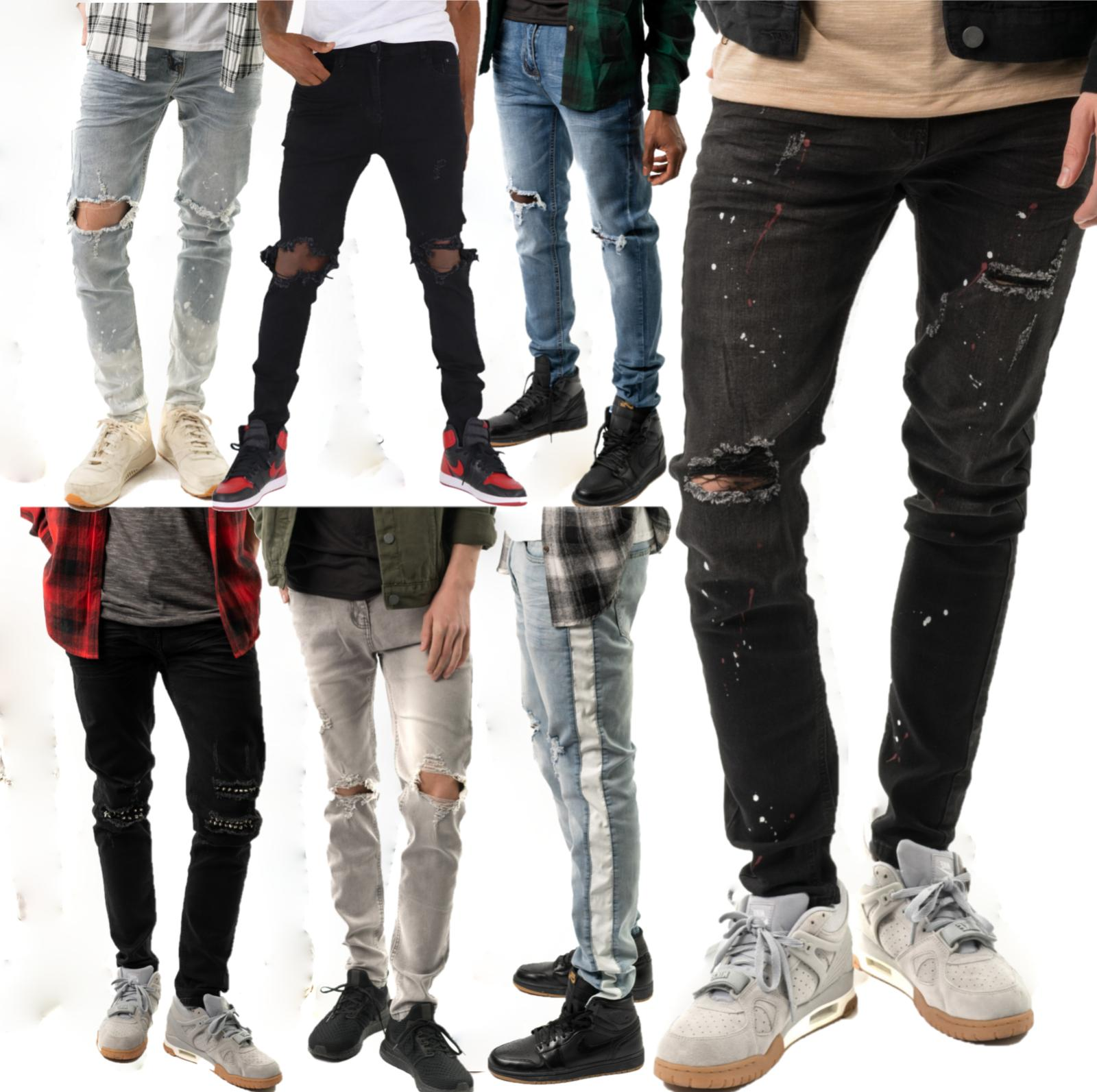 Mens Slim Fit Jeans Super Stretch Denim Pants Slim Skinny Ri