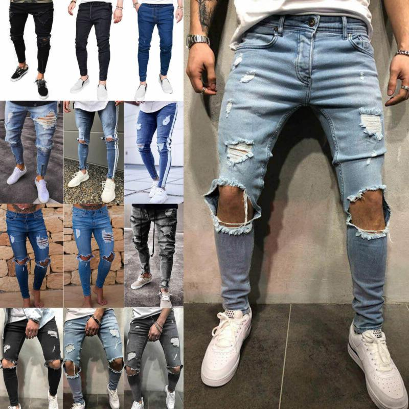 US Ripped Biker Skinny Jeans Trousers Fit Pants