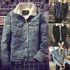Mens Western Vintage Fleece Jacket Fur Lining Coat Jean Deni