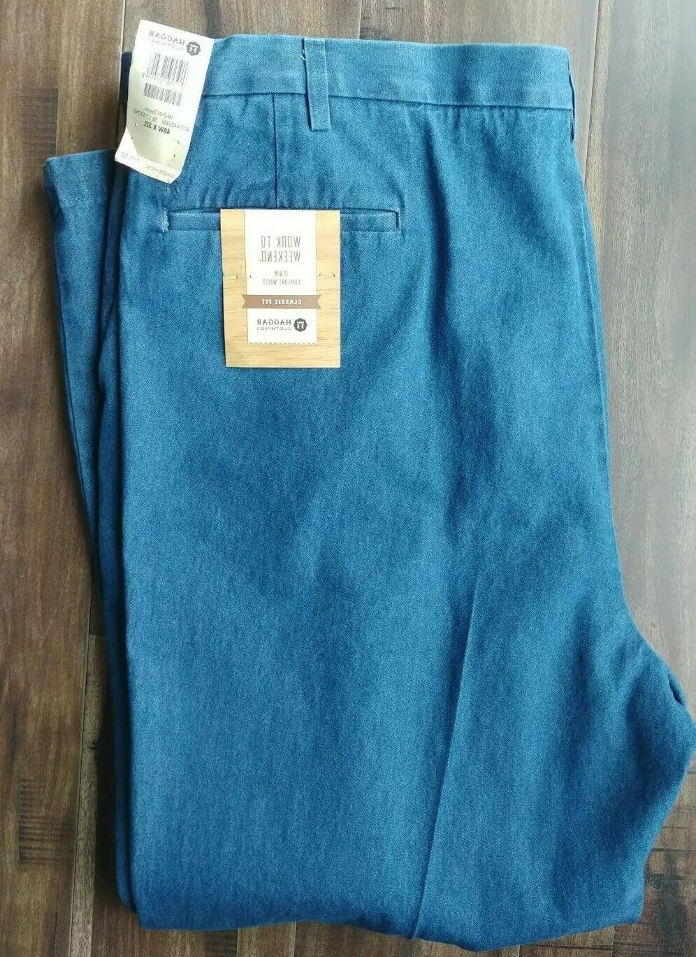 Haggar Mens Work Weekend Denim Pleated Expand Waist 46x32